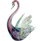 BARBINI Murano SOMMERSO GOLD FLECKS Swan Sculpture