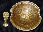 Murano BAROVIER Gold Flecks Aventurine Bowl Pestel SET+