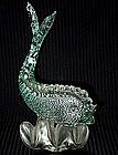 SEGUSO Murano 40s SILVER FLECKS FISH Sculpture
