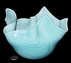 Murano VENINI? Lrg Blue Feather Design FAZZOLETTO Vase