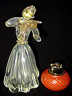 RARE Murano SEGUSO IRIDESCENT Gold Flecks Violin Woman