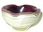 Murano SEGUSO IRIDATO Amethyst GOLD FLECKS Bowl