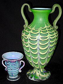 ANTIQUE Venetian OPAL FENICIO Green Yellow Urn Vase