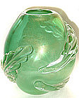 RARE Murano SEGUSO GOLD FLECKS Large Leaf EGG Vase