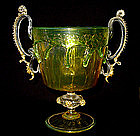 ANTIQUE Venetian MURANO CVM 1890 Gold Flecks CHALICE