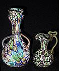 Venetian TOSO Millefiori TWISTED Handles on Neck Vase