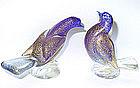 Murano SEGUSO Cobalt Gold Flecks Dove Figure Pair