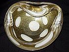 Murano BARBINI SEGUSO White SPOTS GOLD FLECKS Bowl