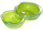 Murano TOSO Green Iridato DOUBLE GOURD Shaped Bowl