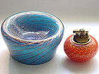 Murano TOSO Blue AVENTURINE Flecks Swirls Bowl + Label
