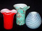 Murano FRATELLI TOSO Aventurine Flecks Vases (3, 4, 5)
