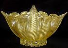 HUGE Murano BAROVIER Cordonato Gold Flecks Vase Bowl