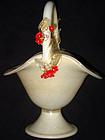 Murano BARBINI Gold Flecks RED FLOWERS Basket Vase