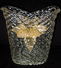 RARE Murano ERCOLE BAROVIER QUILTED Gold Flowers Vase