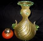 AMAZING Murano BAROVIER Green Gold Flecks FLOWERS Vase