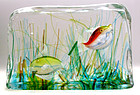 Murano BARBINI CENEDESE Red Yellow 2 Fish AQUARIUM