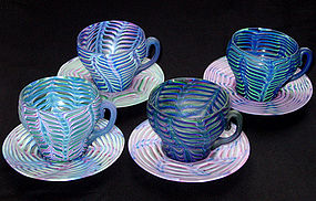 RARE Venetian 1890s FENICIO Cups And Saucer Sets (4)