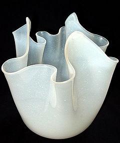 Murano OPAL or ALABASTRO Handkerchief FAZZOLETTO Vase
