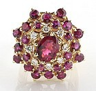 Pink tourmaline, diamond and 14K gold bombe ring