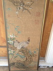 Chinese painting of birds and flowers on silk