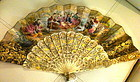 19th Century Gilt ivory sticks  French Fan with case