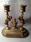 gilt brass Cupid Two light candelabra