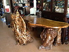 Chinese nature tree burl long table and matching chair