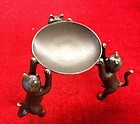 Cat brass stand dish