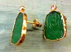 Chinese jade gold diamond earrings