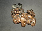 antique Chinese cooper Qi Ling Foo Dog