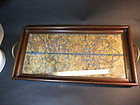 Chinese embroidered gold threat tea tray