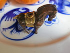 Miniature gilt bronze horse bead
