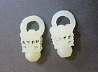 Pair of carved Chinese white jade flower basket earring