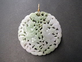 Carved Chinese lavender and green pendant