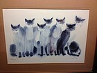 8 cats lithography signed limited edition