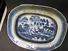 Chinese Export blue and white porcelain Canton plate