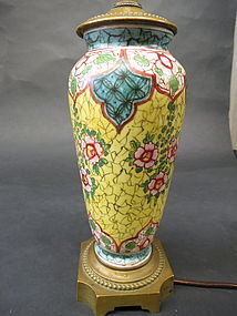 Chinese porcelain lamp with Peking Glass finials tops