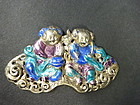 Chinese silver enamel harmony twins ornament