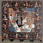 A four-panel coromandel screen with military scene