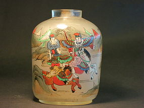 Large Chinese inside painted snuff bottle warriors
