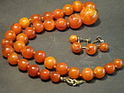 Butterscotch amber necklace and earring