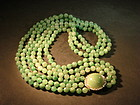 Chinese art Deco green jade hard stone necklace