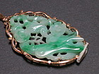 Chinese carved jadeite and gold pendant