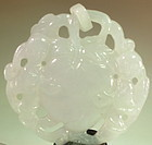 Chinese Icy white jade carved pendant with loop