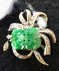 Chinese jadeite and diamond and white gold pin