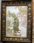 Chinese painted white marble framed panel