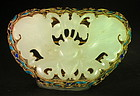 Antique Chinee enameled and white jade butterfly