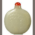 Chinese antique greenish-white jade snuff bottle