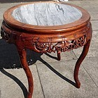Chinese Rosewood round table with marble top