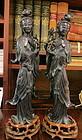 Chinese lapis Lazuli carved maidens